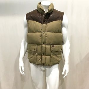 Ralph Lauren Men's Beige Leather Patch Puffer Vest